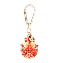 Red Heart Hamsa Hand Key Chain