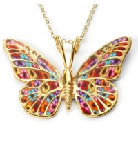 Gold & Polymer Clay Butterfly Necklace  - Multicolor