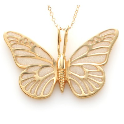 Gold Butterfly Necklace by Adina Plastelina - Pearl