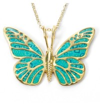 Gold Butterfly Necklace by Adina Plastelina - Turquoise