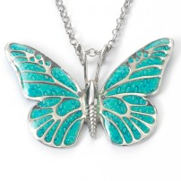 Silver Butterfly Necklace by Adina Plastelina - Turquoise