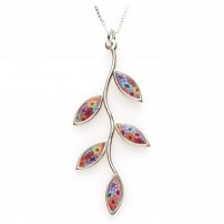 Small Silevr Olive leaf Necklace - Multicolor