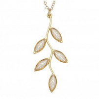 Small Gold Olive leaf Necklace - Pearl
