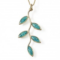 Small Gold Olive leaf Necklace - Turquoise