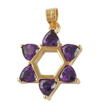 Amethyst Star of David Pendant - Gold Filled