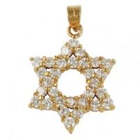 Zirconium Star of David Pendant - Gold Filled
