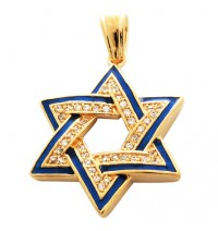 Blue and White Star of David Pendant - Gold Filled