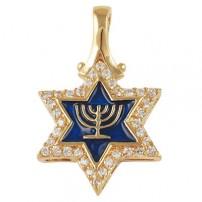 Star of David Menorah Pendant - Gold Filled
