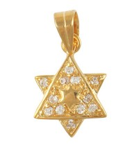 Cubic Zirconium 2-Star of David Pendant - Gold Filled