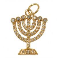 Zirconium Seven Branch Menorah Pendant - Gold Filled