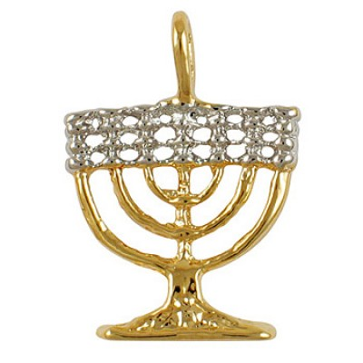 Two-Tone Seven Branch Menorah Pendant - Gold Filled