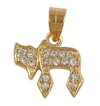 Chai Pendant with zirconium  - Gold Filled