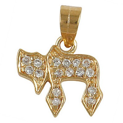 Chai Pendant with zirconium  - Gold Filled