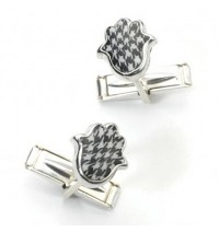 Silver Hamsa Cufflinks - Black & White