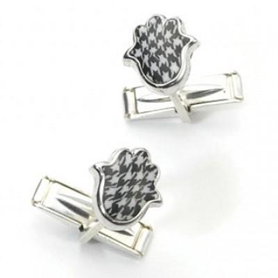 Silver Hamsa Cufflinks - Black & White