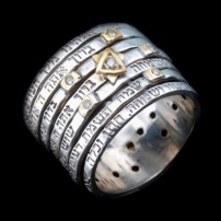 Seven Blessings Spinner Silver Ring with Diamonds