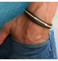 Chocolate and Beige Triple Layer Men's Bracelet with Oxidized Silver-Plated Element by Gal Cohen