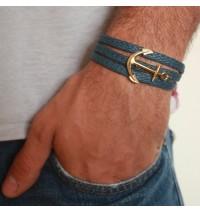 Blue Rope Triple Wrap Men's Bracelet with 24k Gold-Plated Anchor Element