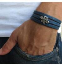Blue Rope Triple Wrap Men's Bracelet with Oxidized Silver-Plated Quadruple Infinity Element
