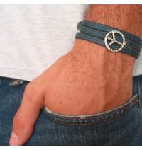 Blue Rope Triple Wrap Men's Bracelet with Oxidized Silver-Plated Peace Symbol