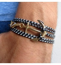 Black and White Rope Triple Wrap Men's Bracelet with 24k Gold-plated Anchor Element