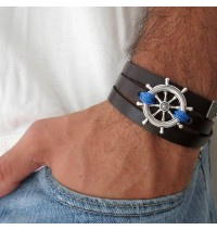 Chocolate Leather Triple Wrap Men's Bracelet with Oxidized Silver-Plated Helm