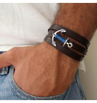 Chocolate Leather Triple Wrap Men's Bracelet with Oxidized Silver-Plated Anchor and Blue Thread