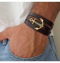 Brown Leather Triple-Wrap Men's Bracelet with 24k Gold-Plated Anchor with Teal Thread by Gal Cohen