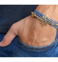 Blue and White Rope Triple-Wrap Men's Bracelet with Oxidized 24k Gold-Plated Compass Element by Gal Cohen
