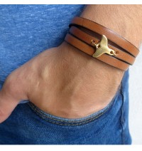 Brown Leather Triple-Wrap Men's Bracelet with Oxidized 24k Whale's Tail Element by Gal Cohen