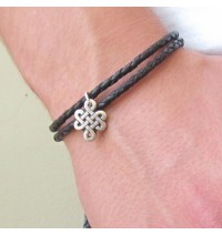 Braided Black Leather Douple Wrap Men's Bracelet with Oxidized Silver-Plated Infinity Element