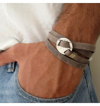 Grey Suede Triple Wrap Men's Bracelet with Oxidized Silver-Plated Circle by Gal Cohen