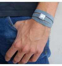 Sky Blue Suede Triple Wrap Men's Bracelet with Oxidized Silver-Plated Square by Gal Cohen