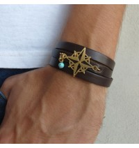 Chocolate Leather Triple Wrap Men's Bracelet with 24k Gold-Plated Compass and Turquoise Bead by Gal Cohen