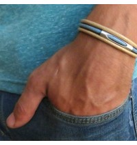 Beige and Sky Blue Triple Layer Men's Bracelet with Oxidized Silver-Plated Element by Gal Cohen