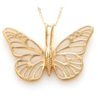 Gold Butterfly Necklace by Adina Plastelina - Pearl