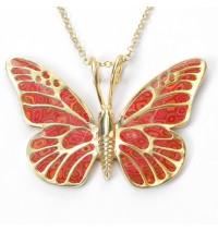 Gold Butterfly Necklace by Adina Plastelina - Red