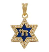 Blue Enamel Star of David Pendant - Gold Filled