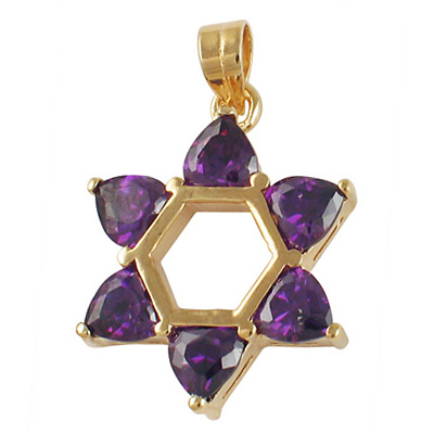 Amethyst Star of David Pendant - Gold Filled