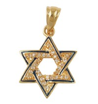 Zirconium Star of David Pendant with Blue Enamel - Gold Filled