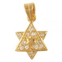 Cubic Zirconium 2-Star of David Pendant - Gold Filled