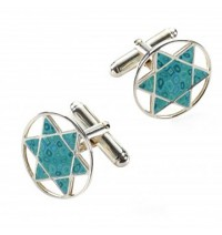 Star of David Cufflinks - Turquoise