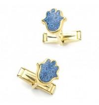 Gold Hamsa Cufflinks - Blue