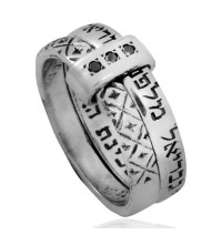 Tha Angels Silver Ring with black diamonds